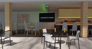 TV-Halterung mit Fernseher in Cafe | Grüne LED Beleuchtung