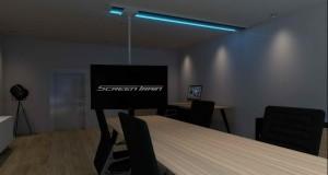 TV-Halterung mit Fernseher in Konferenzraum | Blaue LED Beleuchtung